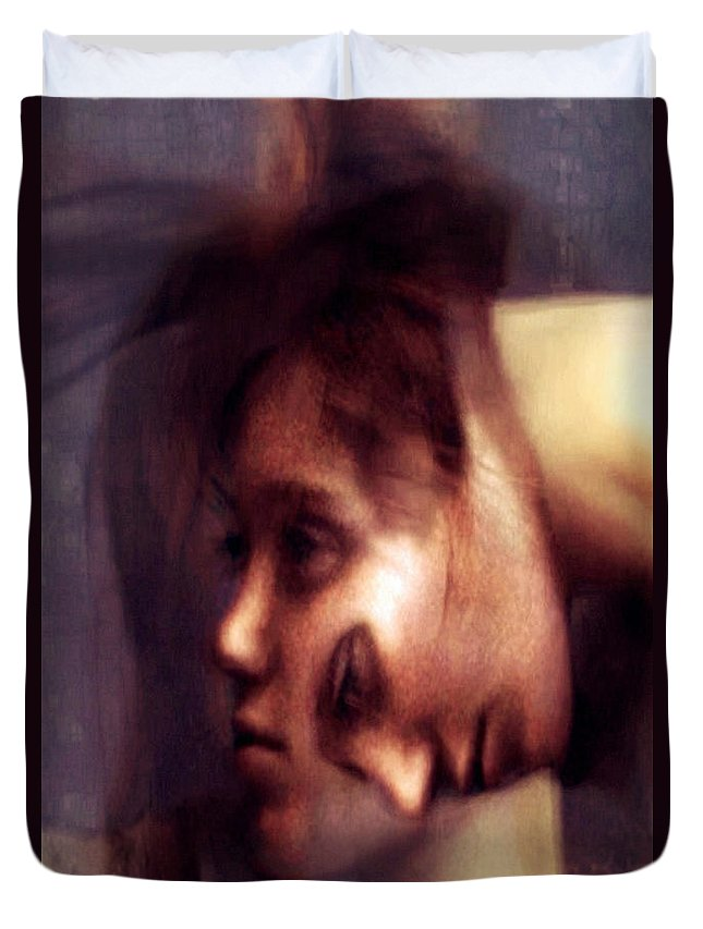 Conceptual Art Duvet Cover featuring the digital art Can Not Shake You by Rafael Salazar
