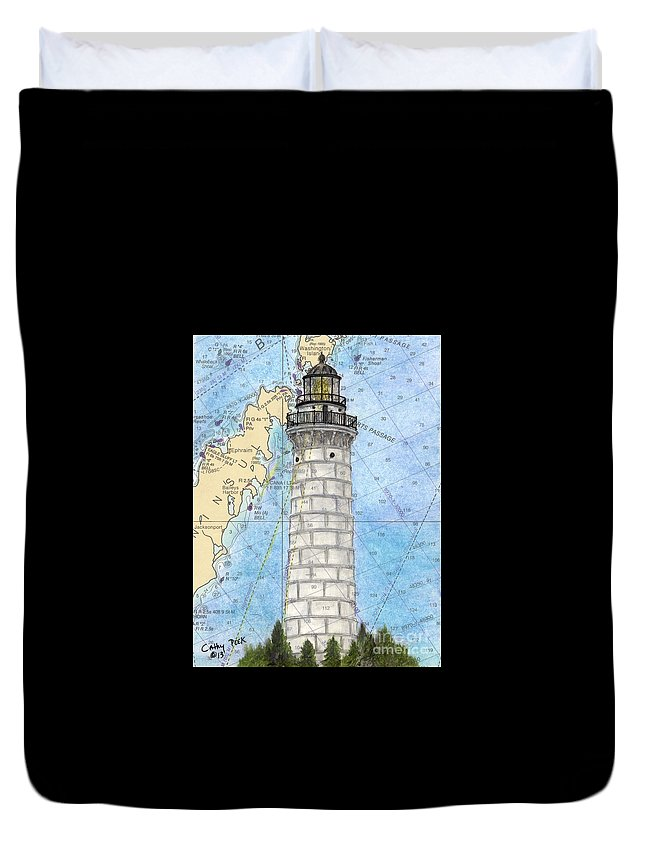 Cana Duvet Cover featuring the painting Cana Island Lighthouse Wi Nautical Chart Map Art by Cathy Peek