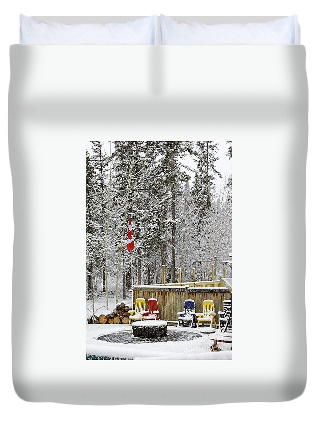 Patriotic Duvet Cover featuring the photograph Canadian Backyard by Alanna DPhoto
