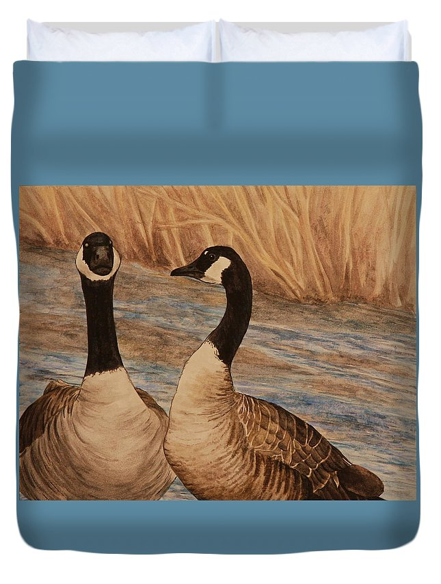 Canadian Goose Duvet Cover featuring the painting Canadian Geese by Michelle Miron-Rebbe