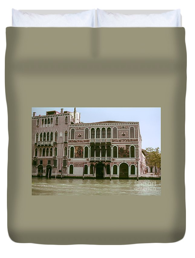 Venice Canal Canals Building Buildings Dock Docks Structure Structures Architecture Water Italy City Cities Cityscape Cityscapes Duvet Cover featuring the photograph Canal Architecture by Bob Phillips