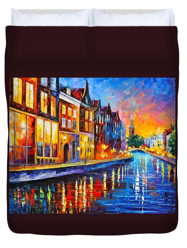 Amsterdam Duvet Cover featuring the painting Canal in Amsterdam by Leonid Afremov