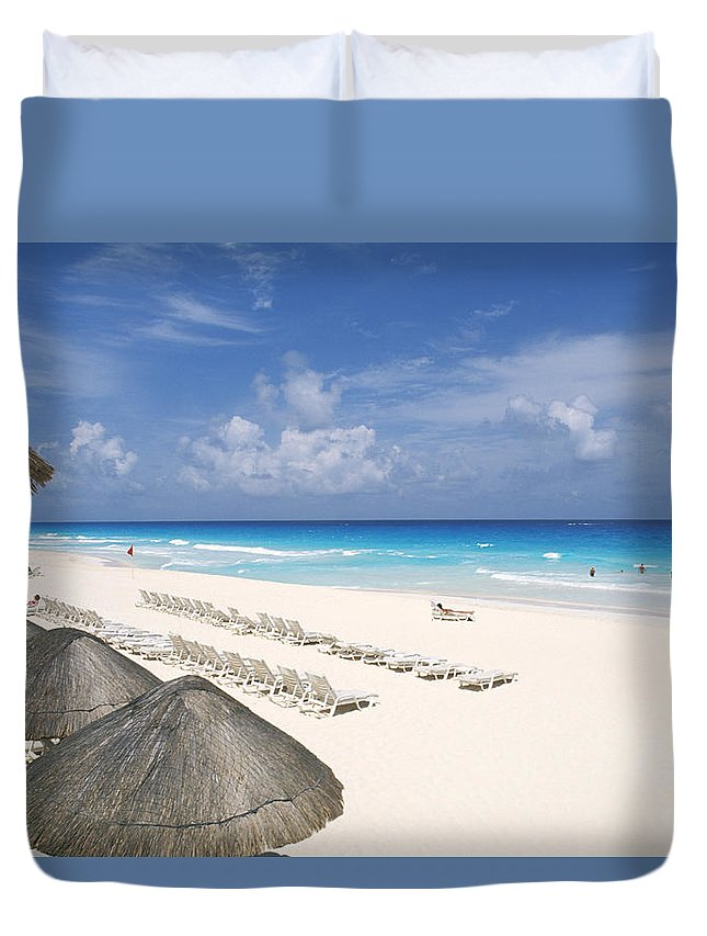 Attraction Duvet Cover featuring the photograph Cancun Beach by Bill Bachmann - Printscapes