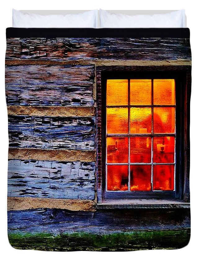 Log Cabin Duvet Cover featuring the photograph Candle Shop Window by Daniel Thompson