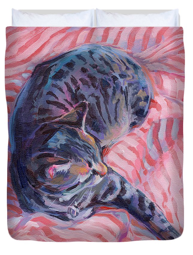 Tabby Cat Duvet Cover featuring the painting Candy Cane by Kimberly Santini