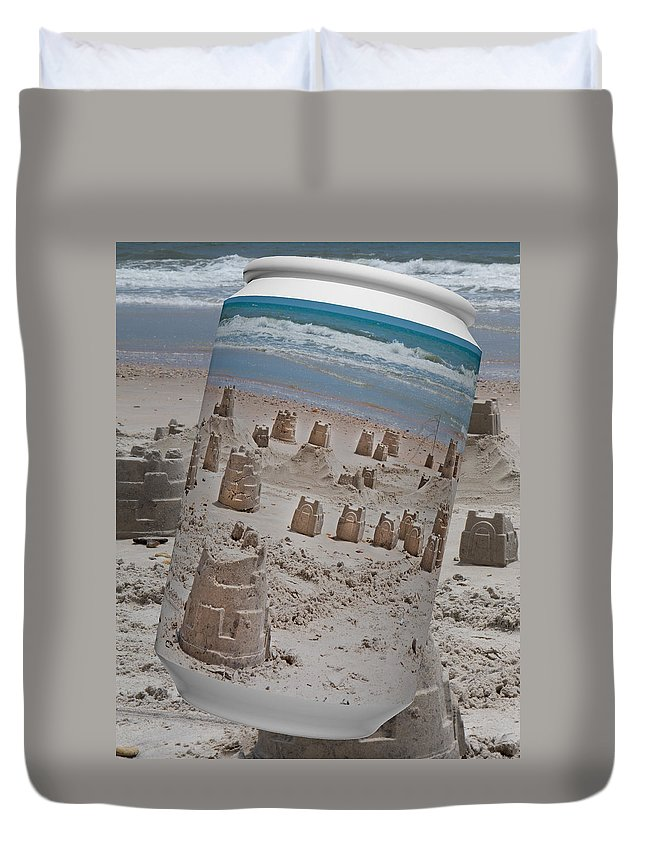 Sandcastle Duvet Cover featuring the digital art Canned Castles by Betsy Knapp
