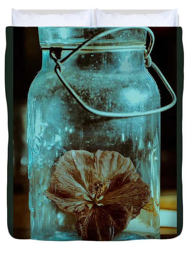Canning Jars Duvet Cover featuring the photograph Canned Spring by Susan Capuano