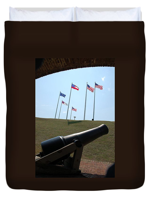 Charleston Harbor Duvet Cover featuring the photograph Cannon At Fort Sumter by Cathie Crow