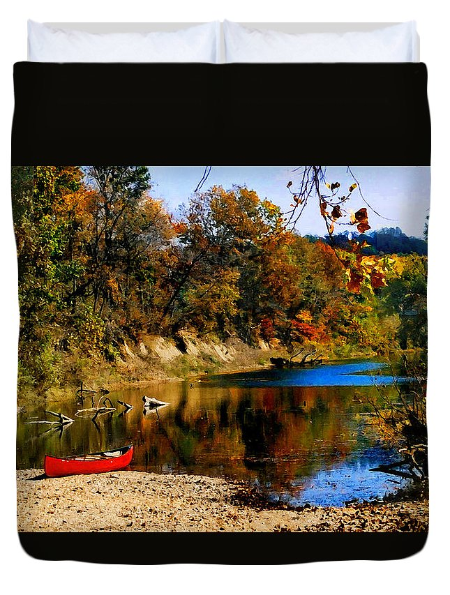 Autumn Duvet Cover featuring the photograph Canoe On The Gasconade River by Steve Karol