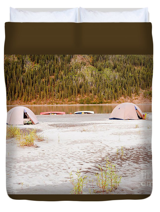 Activity Duvet Cover featuring the photograph Canoe Tent Camp At Yukon River In Taiga Wilderness by Stephan Pietzko