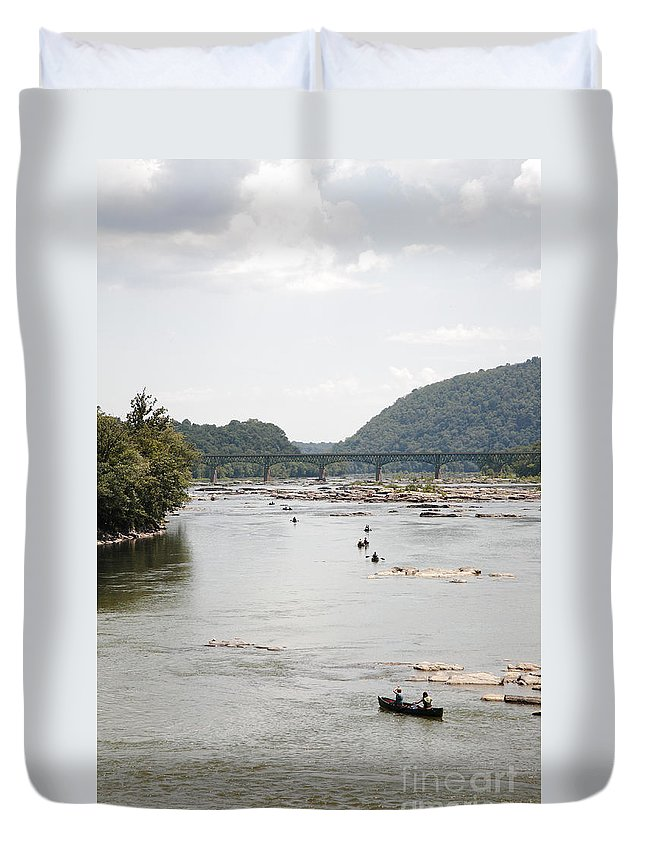 Canoe Duvet Cover featuring the photograph Canoeing On The Potomac River At Harpers Ferry by William Kuta