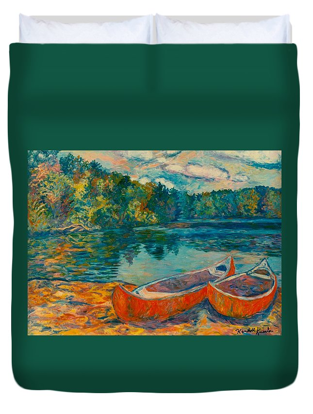 Landscape Duvet Cover featuring the painting Canoes at Mountain Lake by Kendall Kessler