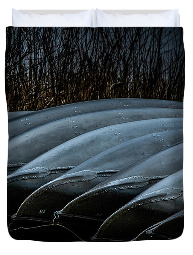Canoes Duvet Cover featuring the photograph Canoes by Ronald Grogan