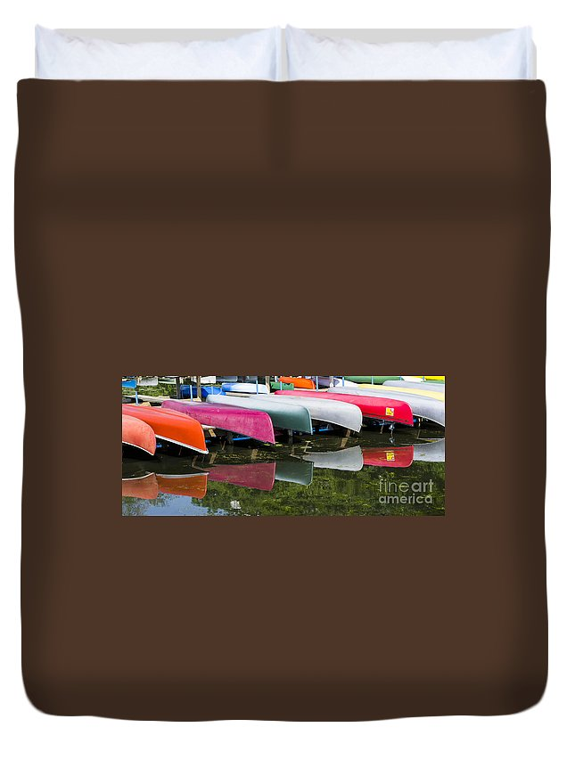 Canoes Duvet Cover featuring the photograph canoes - Lake Wingra - Madison by Steven Ralser