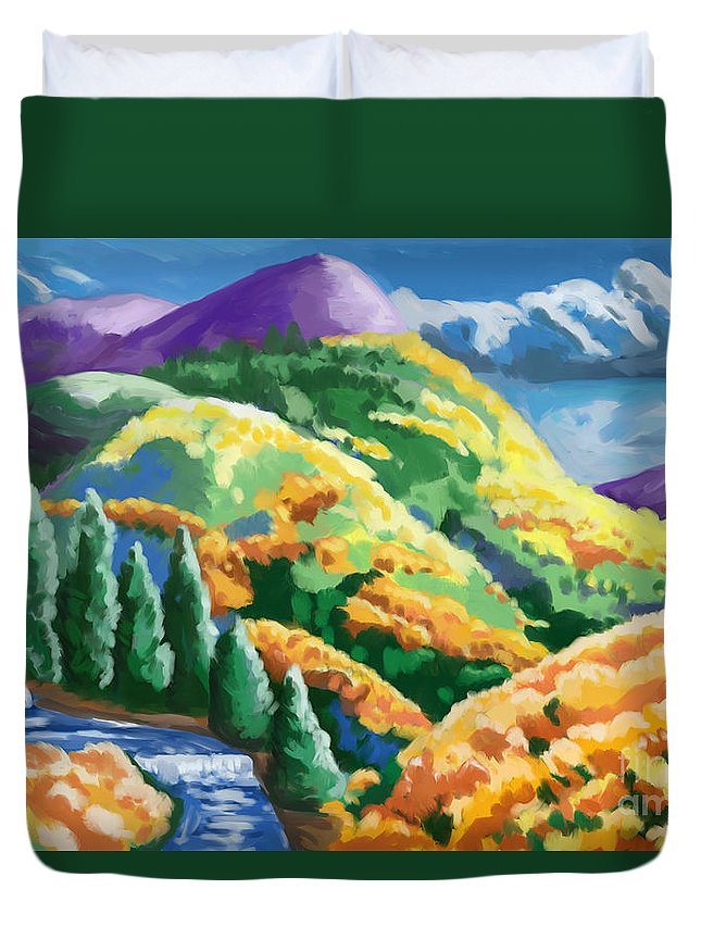 Forest Duvet Cover featuring the painting Can't- See The Forest Thur The Woman by Tim Gilliland