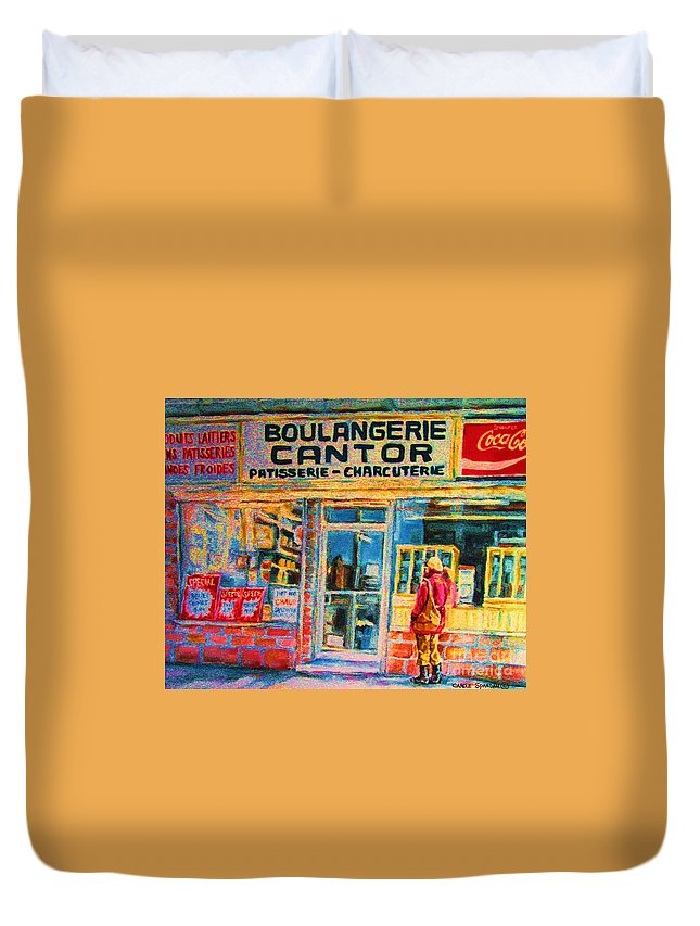Cantors Duvet Cover featuring the painting Cantors Bakery by Carole Spandau