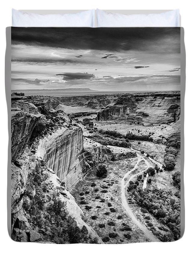 Canyon Duvet Cover featuring the photograph Canyon De Chelly Navajo Nation Chinle Arizona Black And White by Silvio Ligutti