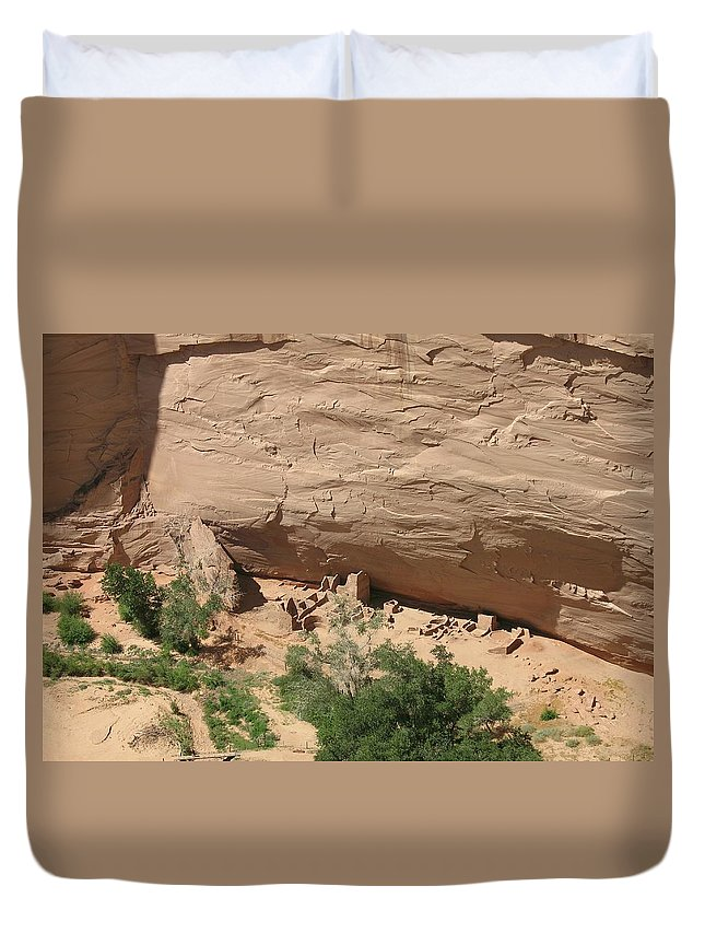 Canyon Duvet Cover featuring the photograph Canyon De Chelly Ruins by Christiane Schulze Art And Photography
