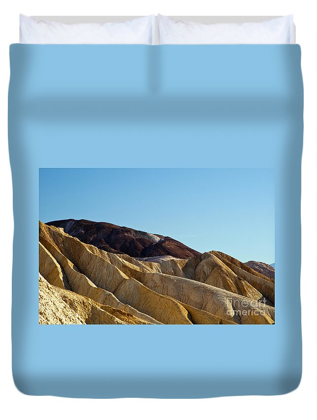 Golden Canyon Death Valley National Park California Rock Formation Rocks Formations Desert Deserts Landscape Landscapes Desertscape Desertscapes Canyons Duvet Cover featuring the photograph Canyon Golds by Bob Phillips