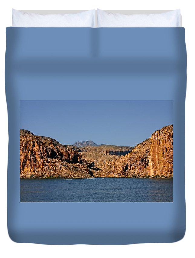 Canyon Duvet Cover featuring the photograph Canyon Lake of Arizona - Land Big Fish by Alexandra Till