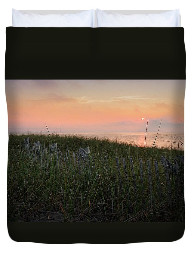 Cape Cod Duvet Cover featuring the photograph Cape Cod Bay Sunset by Bill Wakeley