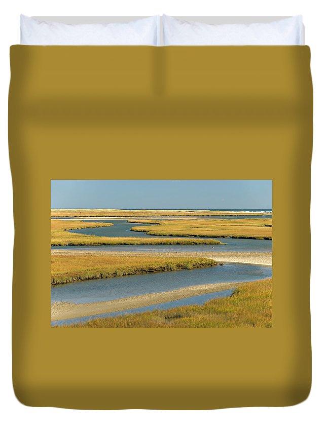 Grass Duvet Cover featuring the photograph Cape Cod Wetlands by Frankvandenbergh