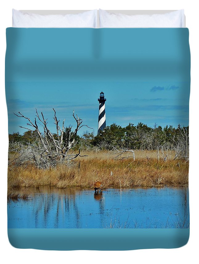 Mark Lemmon Cape Hatteras Nc The Outer Banks Photographer Subjects From Sunrise Duvet Cover featuring the photograph Cape Hatteras Lighthouse Deer In Pond 1 3/01 by Mark Lemmon