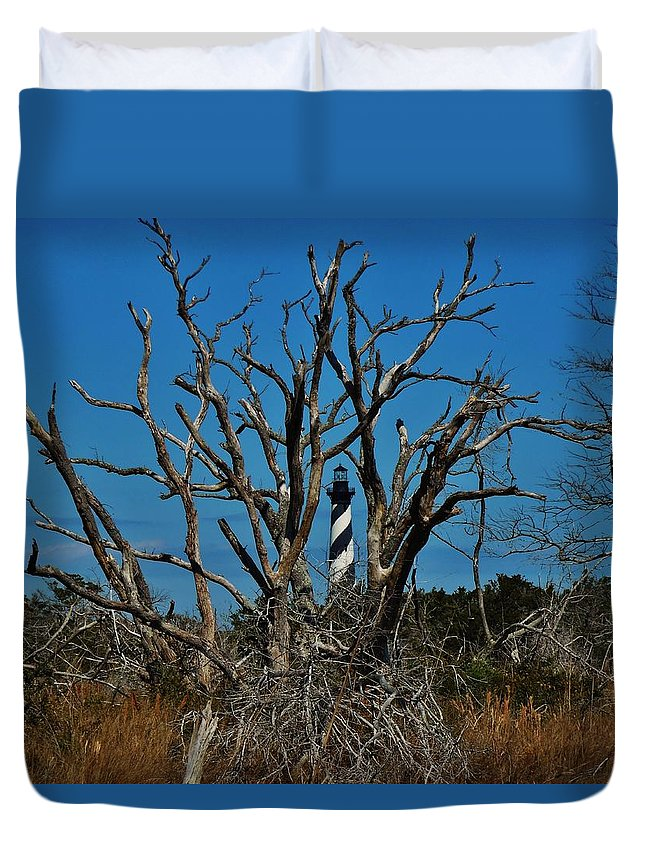 Mark Lemmon Cape Hatteras Nc The Outer Banks Photographer Subjects From Sunrise Duvet Cover featuring the photograph Cape Hatteras Lighthouse Through The Trees 3/01 by Mark Lemmon