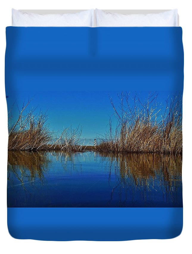 Mark Lemmon Cape Hatteras Nc The Outer Banks Photographer Subjects From Sunrise Duvet Cover featuring the photograph Cape Hatteras Lighthouse Water Reflection 2 3/01 by Mark Lemmon