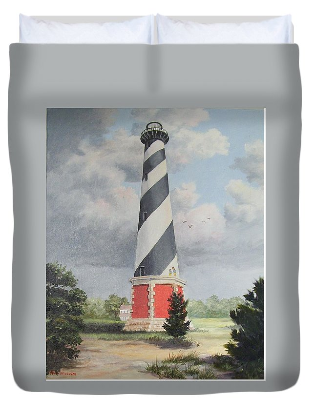 Sunrise Clouds Duvet Cover featuring the painting Cape Hatteris Sunrise by Wanda Dansereau