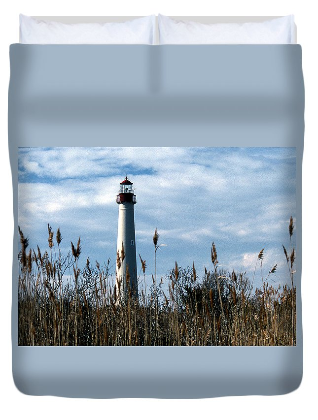 Lighthouses Duvet Cover featuring the photograph Cape May Light by Skip Willits