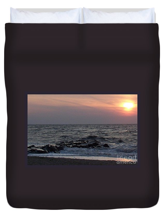 Cape May Duvet Cover featuring the photograph Cape May Sunset Beac H by Eric Schiabor
