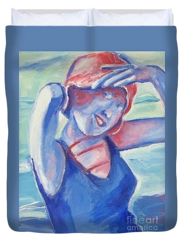 1920s Duvet Cover featuring the painting Cape May1920s Bathing Beauty by Eric Schiabor