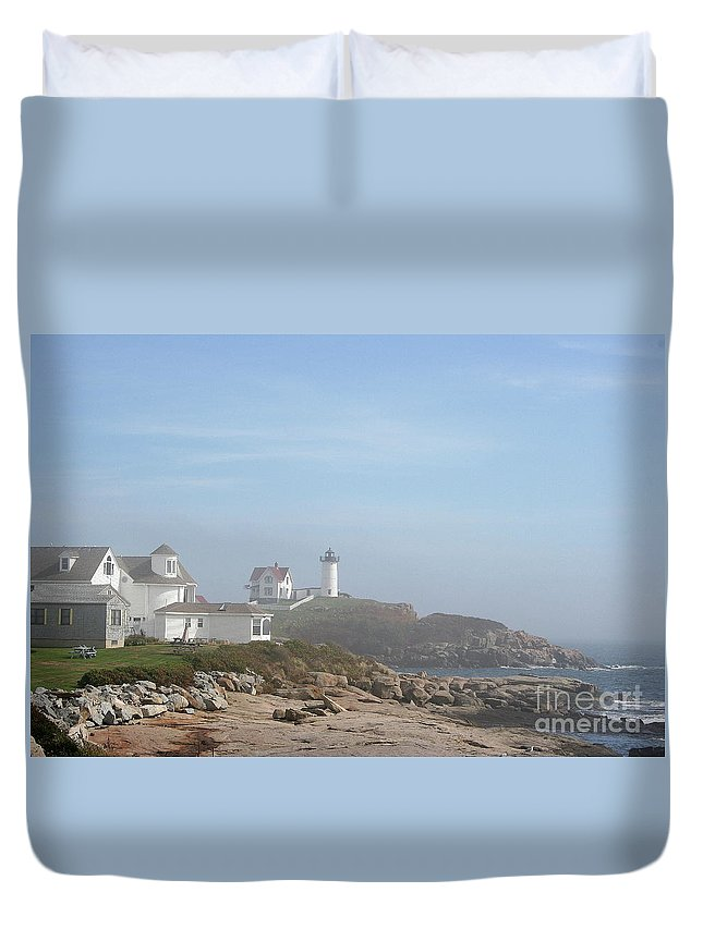 Lighthouse Duvet Cover featuring the photograph Cape Neddick Lighthouse IIi by Christiane Schulze Art And Photography