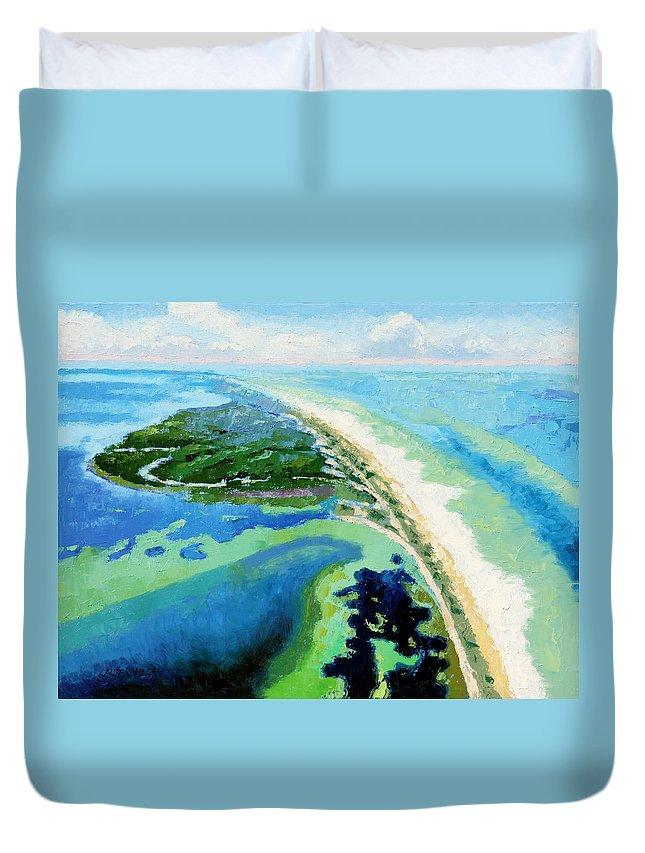 Landscape Duvet Cover featuring the painting Cape San Blas Florida by John Lautermilch