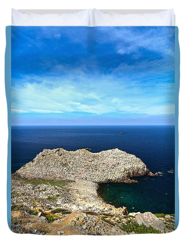 Sandalo; Cape; Carloforte; Cliff; Coast; Europe; Granite; Headland; Holiday; Island; Italian; Italy; Landscape; Mediterranean; Natural; Nature; Overview; Outdoors; Pietro; Promontory; Rock; Rocky; Sardinia; Sea; Shore; Seaside; Summer; Sunny; Tourism; Water; Wild; Duvet Cover featuring the photograph Cape Sandalo - Carloforte by Antonio Scarpi
