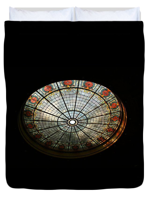 Stained Glass Duvet Cover featuring the photograph Capital Building Stained Glass 2 by Susan McMenamin