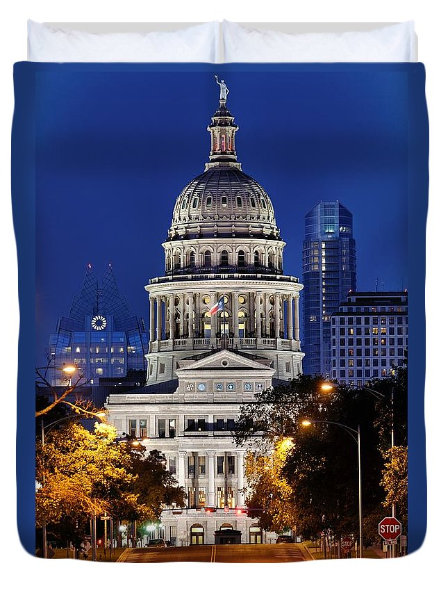 Texas Capitol Duvet Cover featuring the photograph Capitol Of Texas by Silvio Ligutti