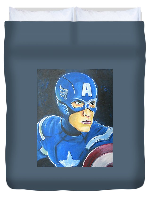 Disney Duvet Cover featuring the painting Captain America by Lisa Leeman