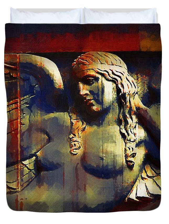 Angel Duvet Cover featuring the painting Captive In Stone by RC DeWinter