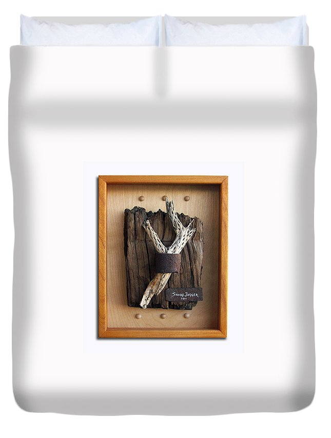 Assemblage Duvet Cover featuring the sculpture Captive by Snake Jagger