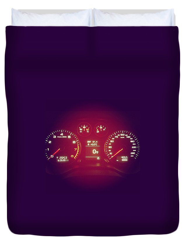 Engine Duvet Cover featuring the photograph Car Cockpit With Exactly 10000km by Alvarez