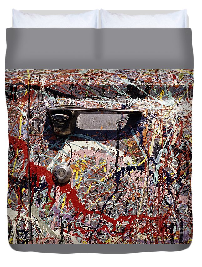 Entertainment Duvet Cover featuring the photograph Car Door Splattered Piant.tif by Jim Corwin