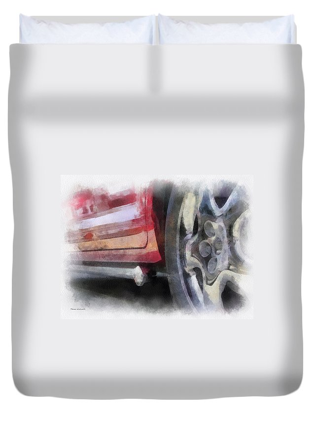 Aluminum Duvet Cover featuring the photograph Car Rims 02 Photo Art 01 by Thomas Woolworth