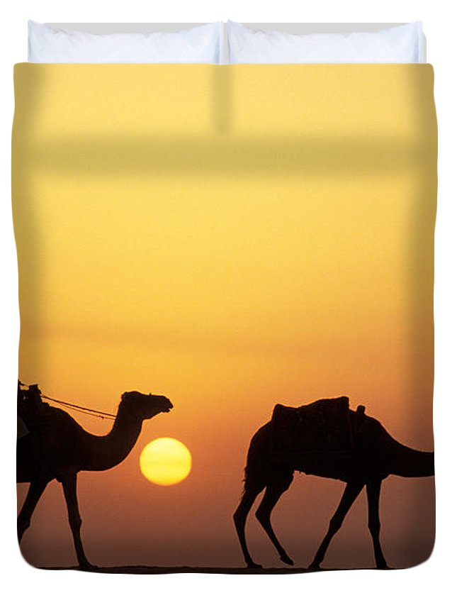 Photography Duvet Cover featuring the photograph Caravan Morocco by Panoramic Images