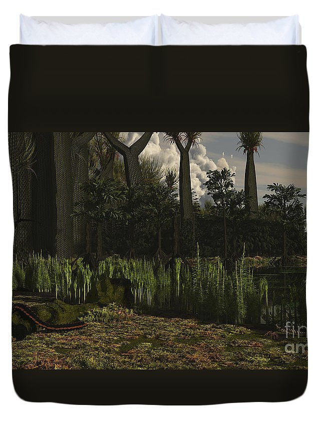 Extinct Duvet Cover featuring the digital art Carboniferous Forest Of The Eastern by Arthur Dorety