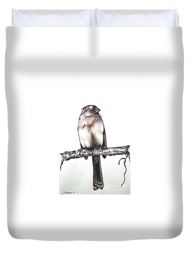 Ink Sketch Duvet Cover featuring the drawing Cardinal Female by Katharina Filus