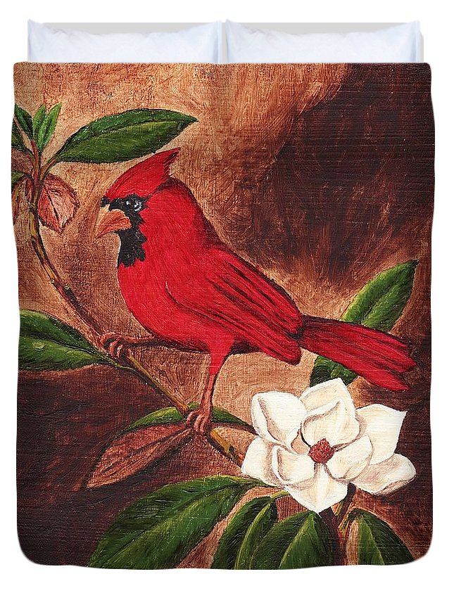 Birds Duvet Cover featuring the painting Cardinal II by Brandy House