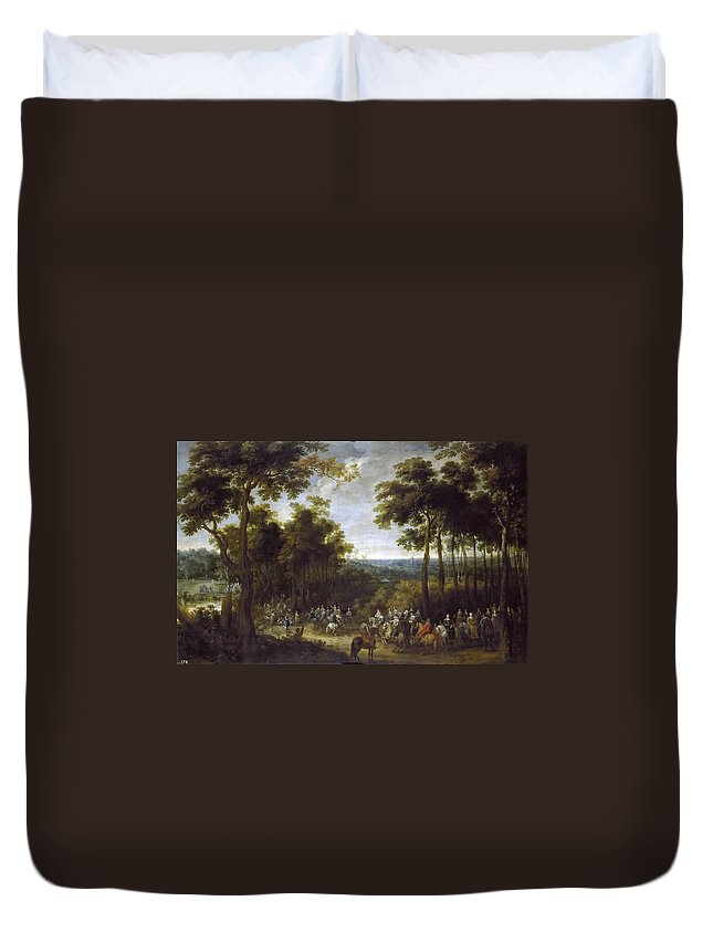 Pieter Snayers Duvet Cover featuring the painting Cardinal-infante On The Hunt by Pieter Snayers