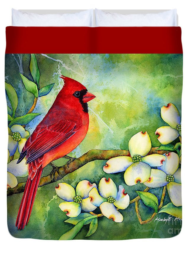 Cardinal Duvet Cover featuring the painting Cardinal on Dogwood by Hailey E Herrera